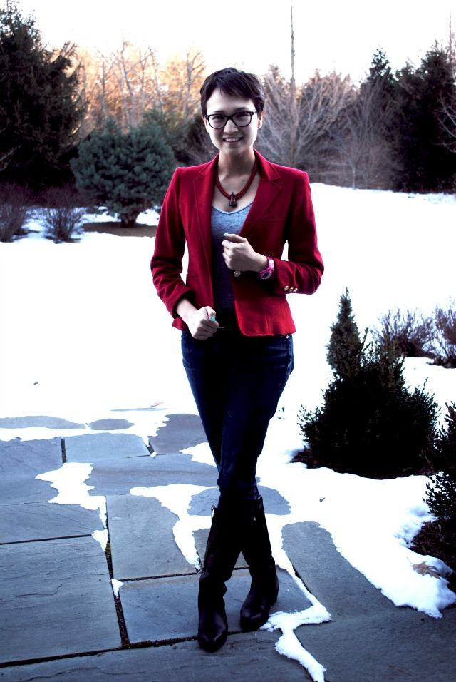 Outfit Red Blazer